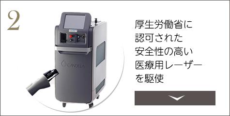 厚生労働省に認可された安全性の高い医療用レーザーを駆使
